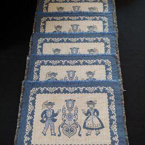 5 Vintage Placemats Blue and White, Austria